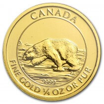 2015 Canadian .25oz Gold $10 Polar Bear and Cub