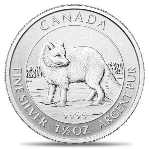 2014 Canadian 1.5oz $8 Silver Arctic Fox